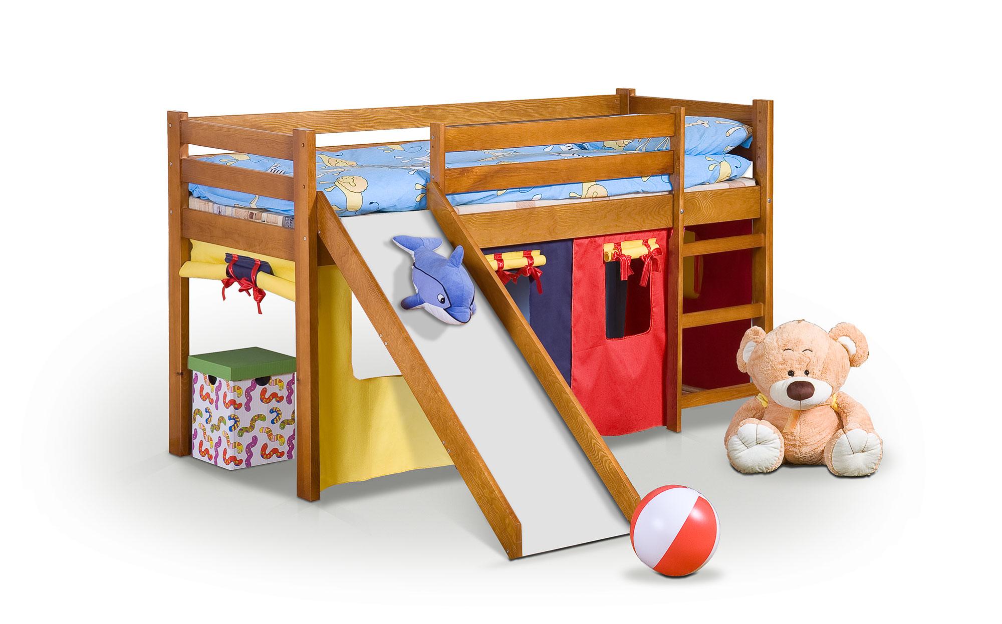 NEO PLUS - posteľ so šmýkačkou jelša