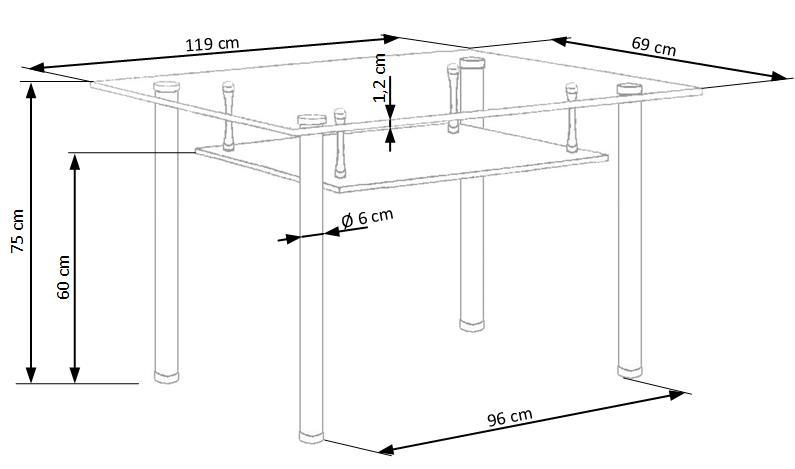 OLIVIER stôl bezfarebný