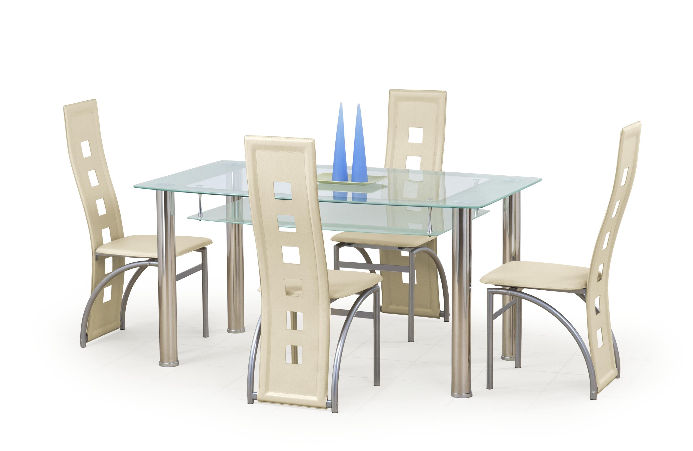 CRISTAL stôl bezfarebný/mliečny