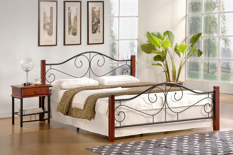 VIOLETTA 160 posteľ, ant. čerešňa/čierna