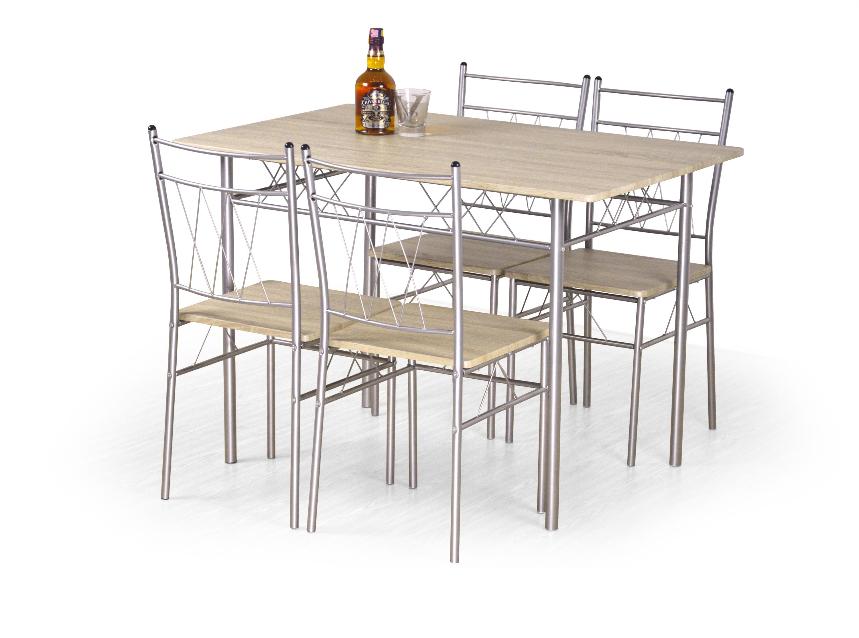 Jídelní set FAUST  stůl + 4 židle dąb sonoma (1p=1kpl)