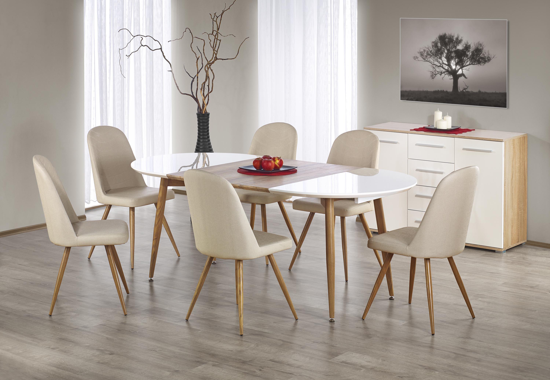 EDWARD stôl rozkladací dub medový / biely; nohy: dub medový
