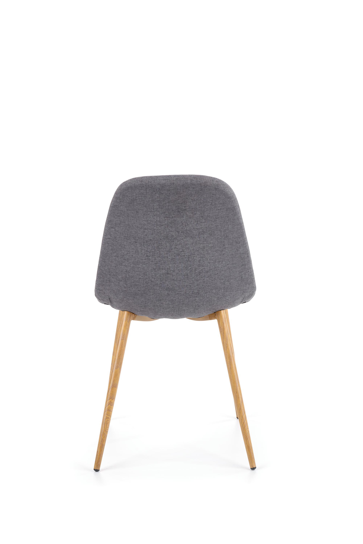 K220 stolička čalúnenie - šedé, nohy - dub medový