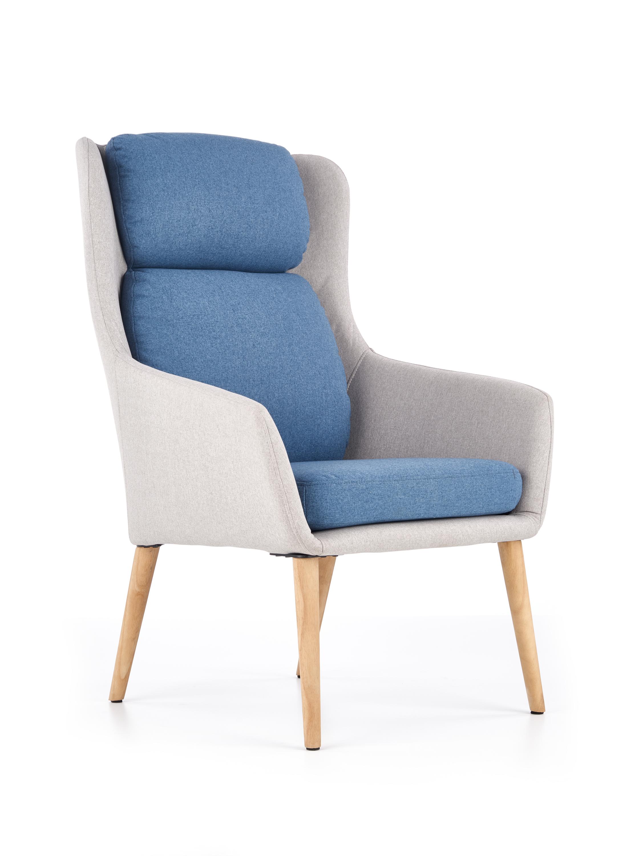 PURIO relaxačné kreslo, svetlo šedá / modrá