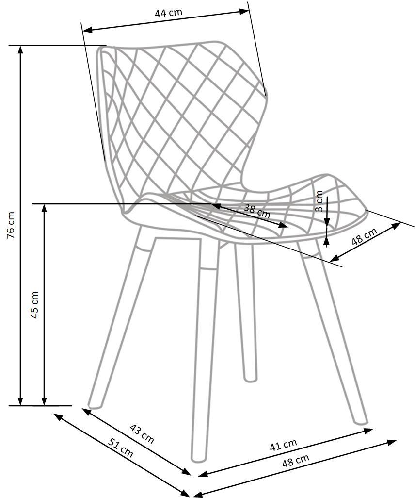 K277 jedálenská stolička, šedá / biela