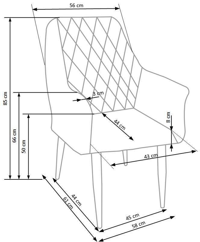 K287 jedálenská stolička, šedá