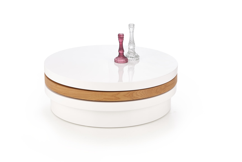 MICHELLE konferenčný stolík, biela / zlatý dub