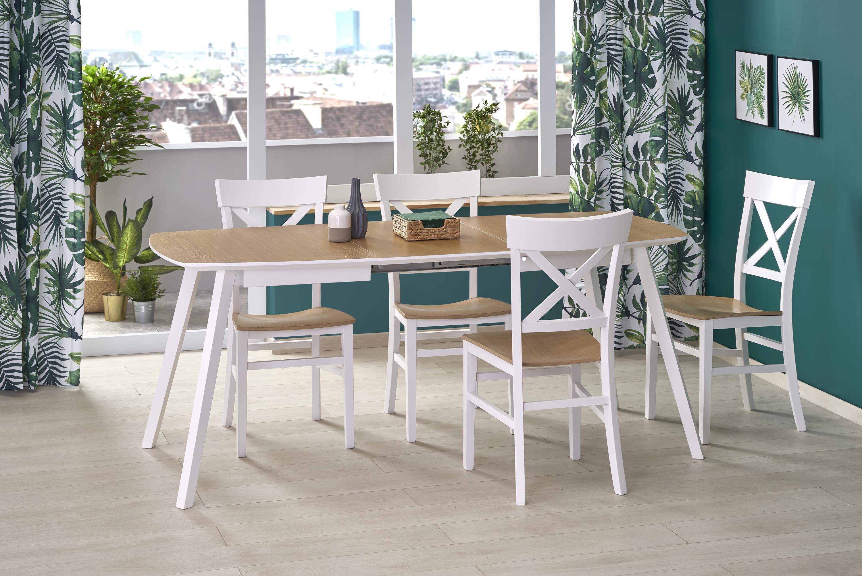KAJETAN 2 135-185 rozkladací stôl medový dub / biela