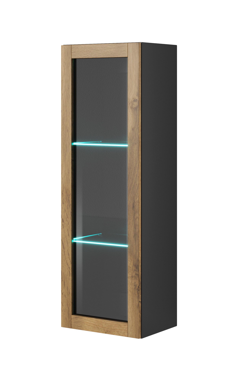 LIVO W-120 závesná komoda, antracit/dub votan