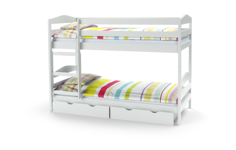 SAM poschodová posteľ s matracom biela