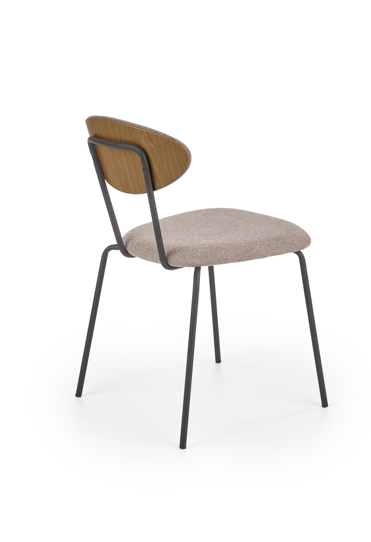 K361 stolička, čalúnenie -  svetlo hnedá / orech, nohy - čierna