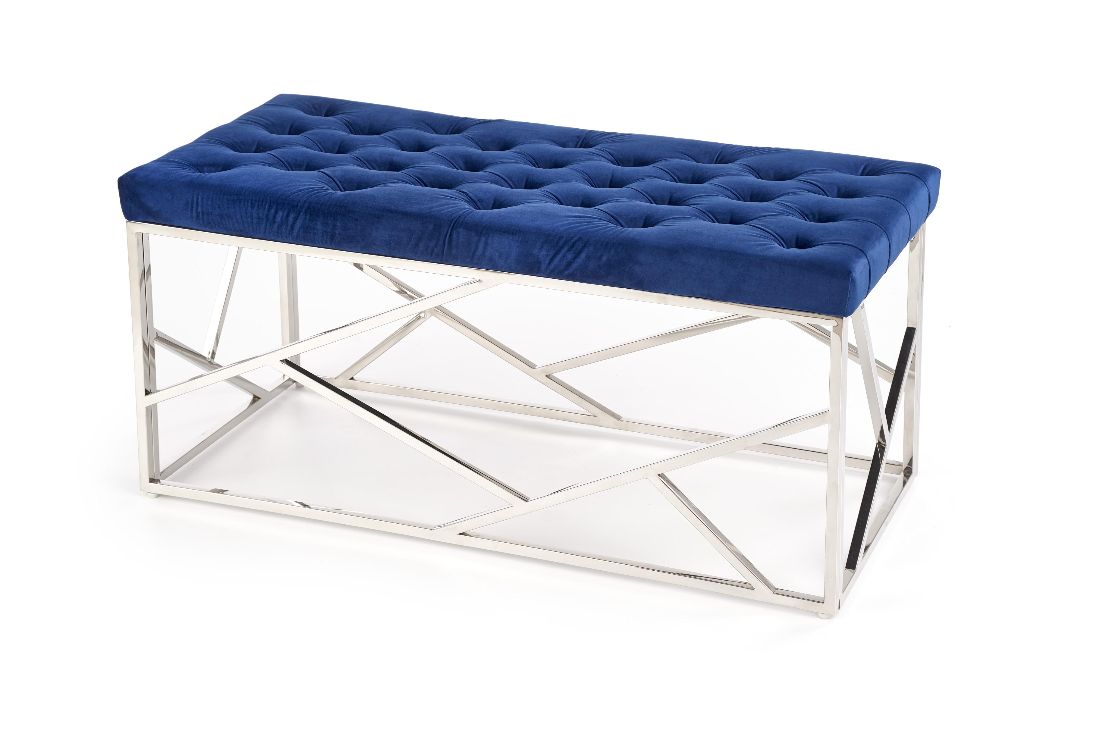 Halmar MILAGRO lavička, konštrukcia - strieborná, sedák - granátová