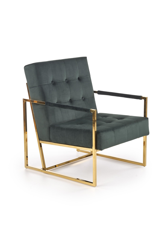 PRIUS relaxačné kreslo, čalúnenie - tmavo zelená, konštrukcia - zlatá