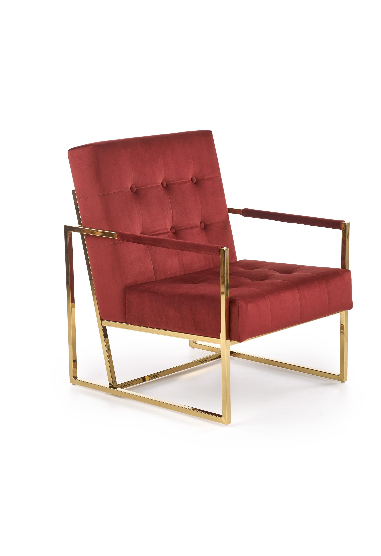 PRIUS relaxačné kreslo, čalúnenie - bordová, konštrukcia - zlatá