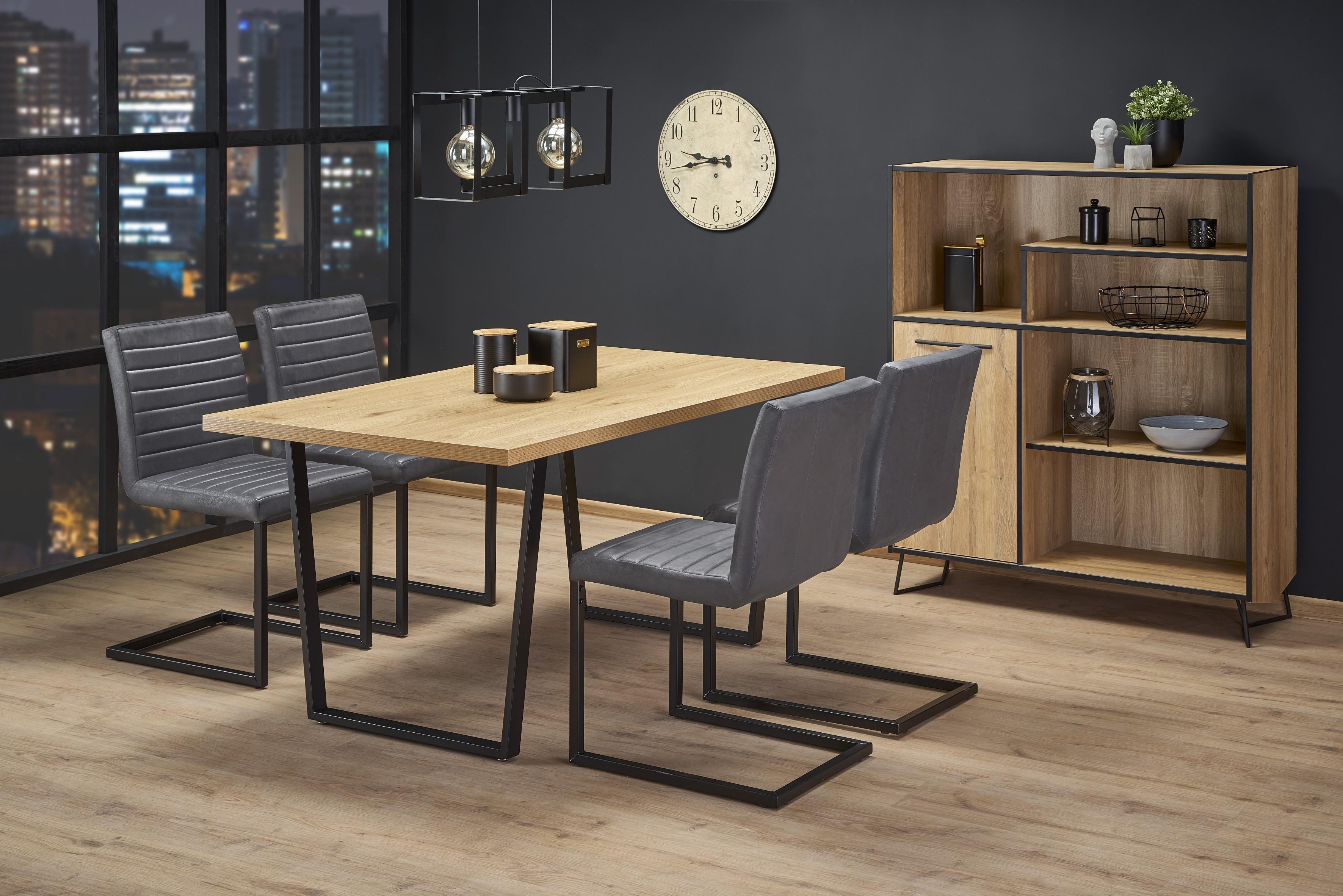 ULRICH stôl, doska - dub zlatý, nohy - čierna