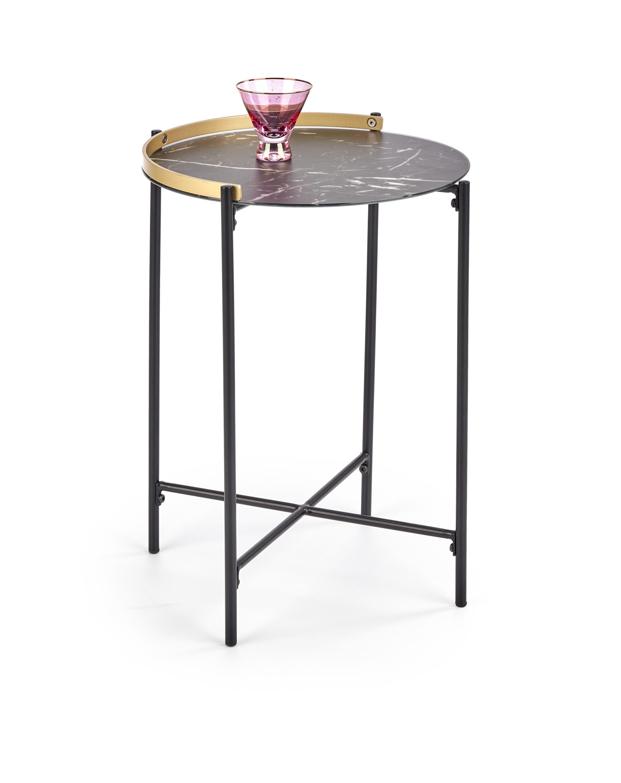 LINUX konferenčný stolík, doska - tmavý mramor / zlatá, konštrukcia - čierna