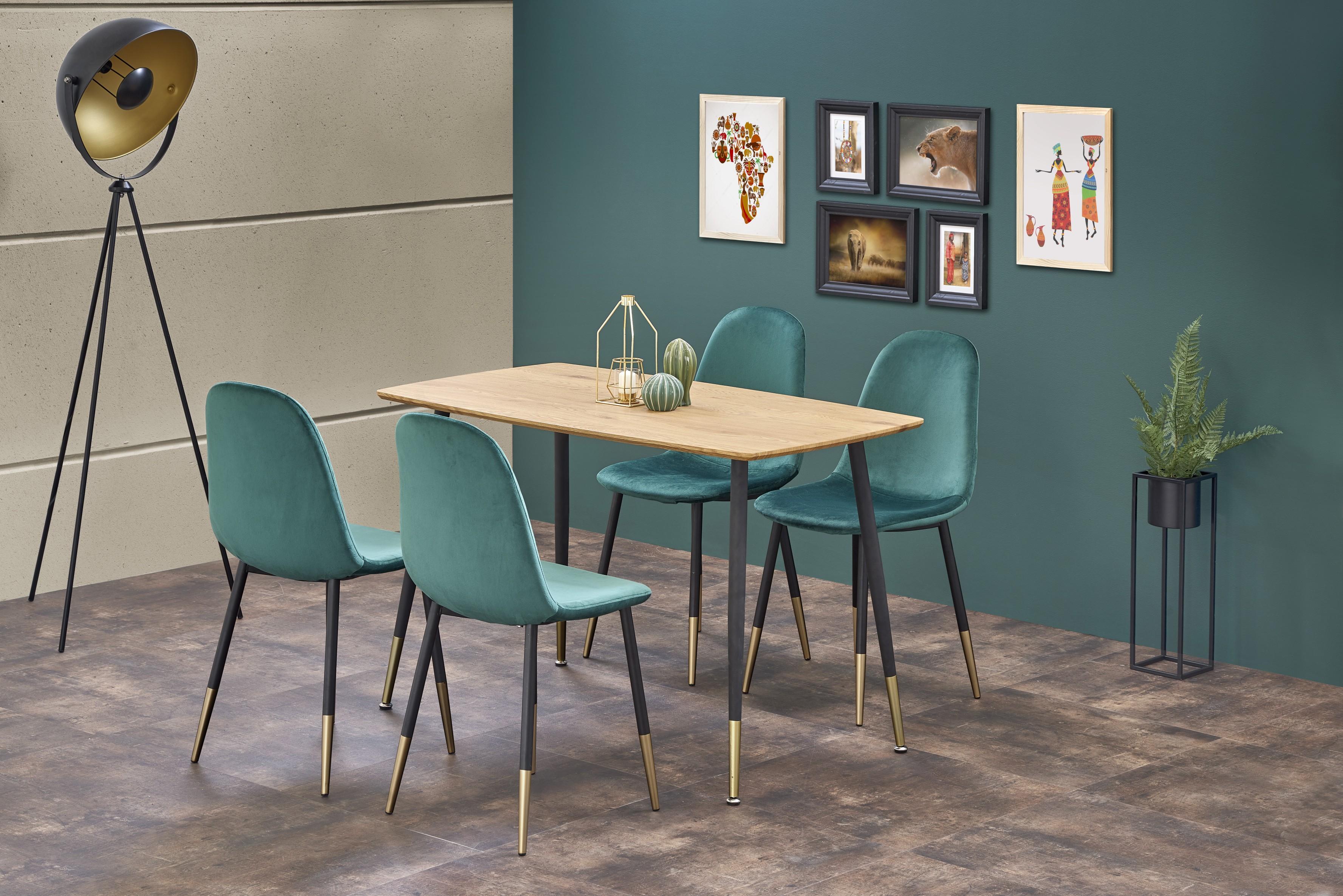 TRIPOLIS stôl, doska - dub zlatý, nohy - čierna