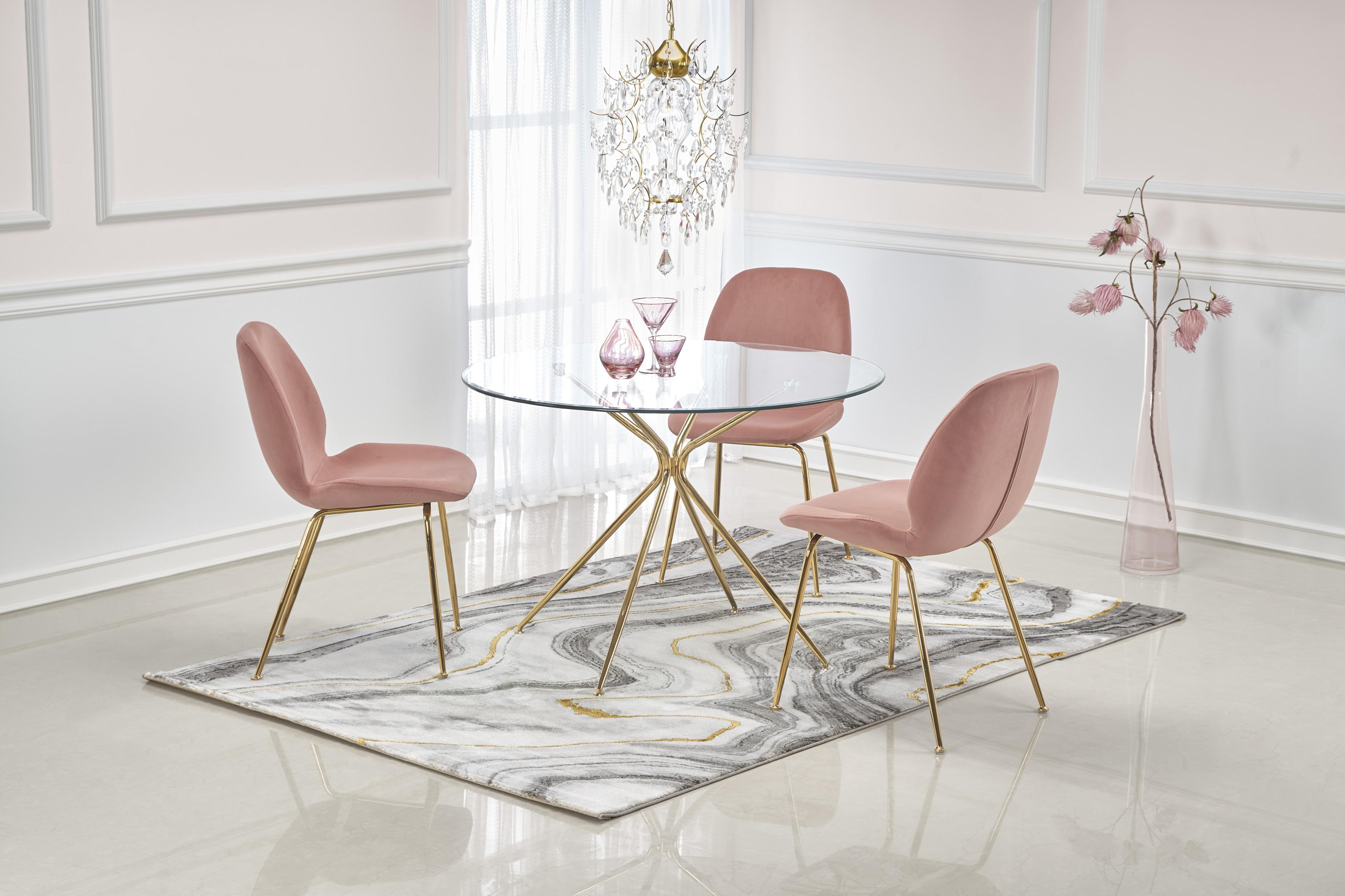 RONDO stôl, doska - bezfarebná, nohy - zlaté