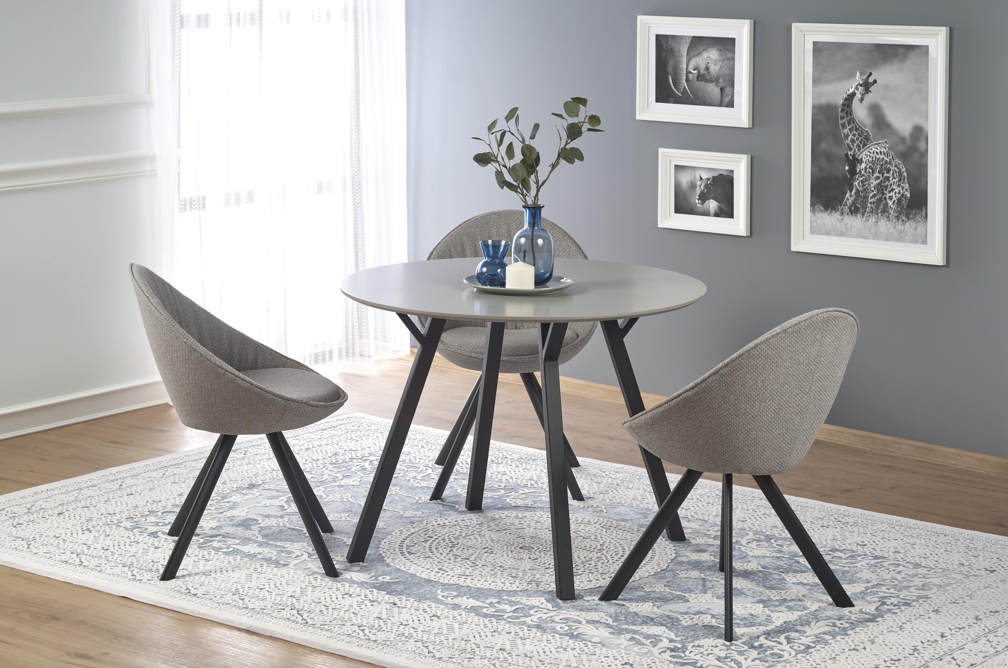BALROG okrúhly stôl, konštrukcia - čierna, doska - svetlo šedá