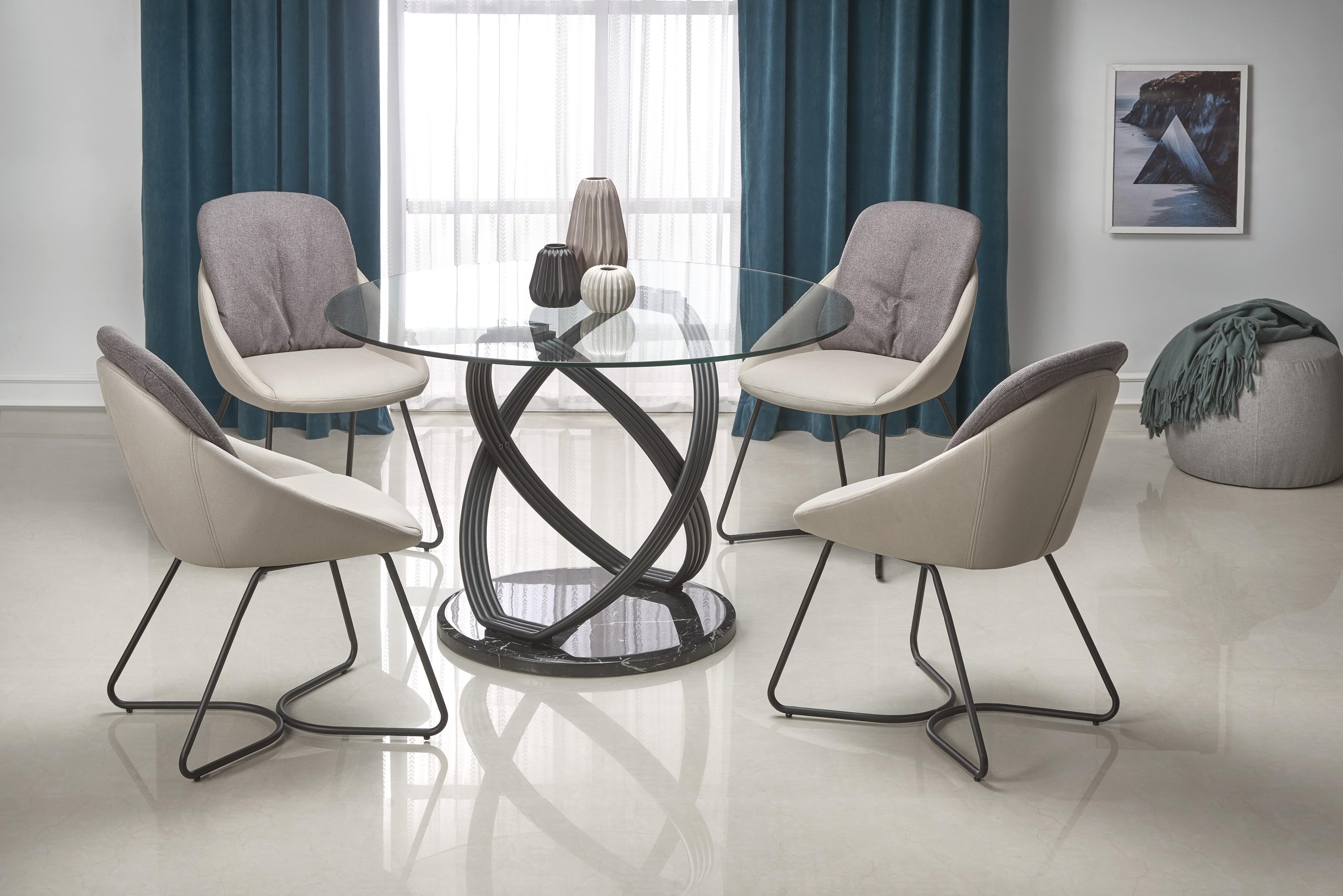 OPTICO stôl, doska - transparentná, nohy - čierna