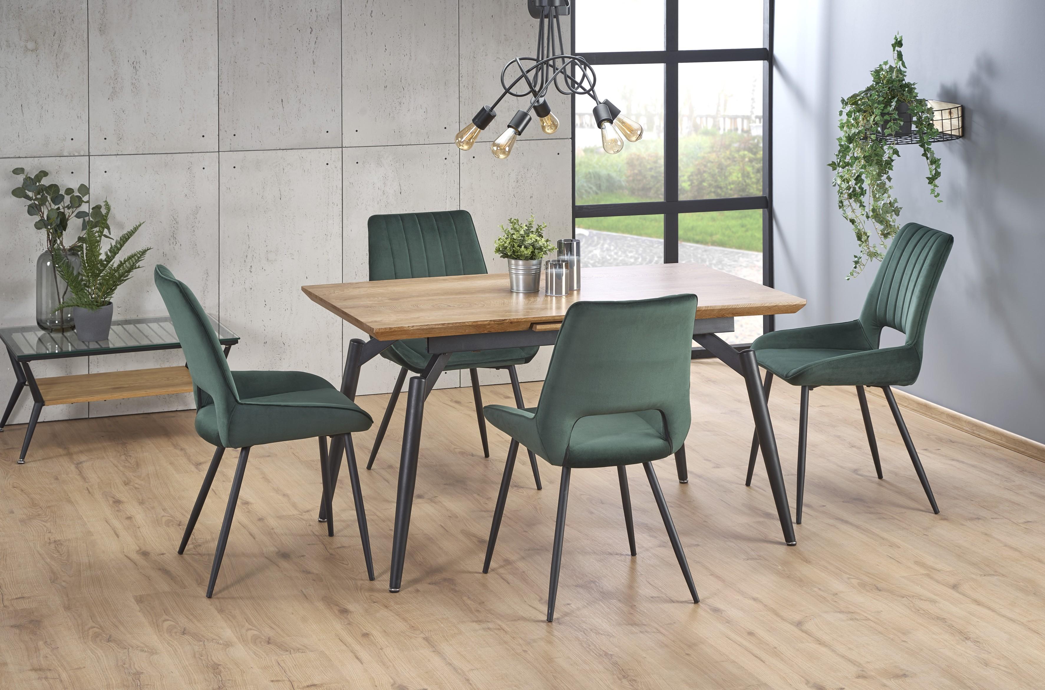CAMBELL rozkladací stôl, doska - prírodná, nohy - čierna