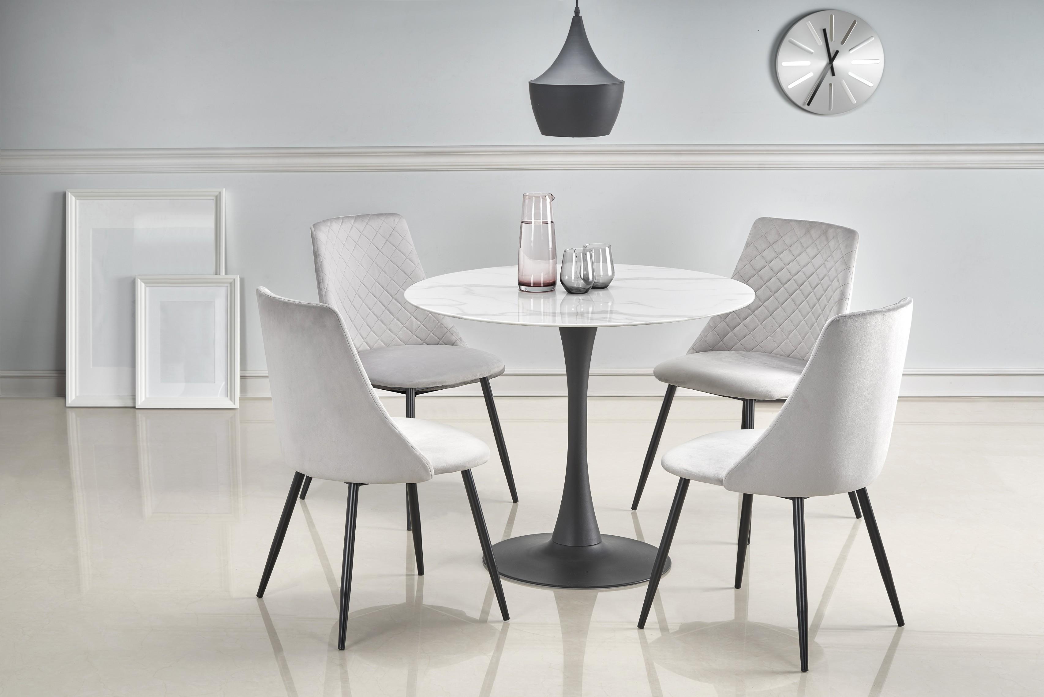 AMBROSIO okrúhly stôl, doska - mramor, noha - čierna