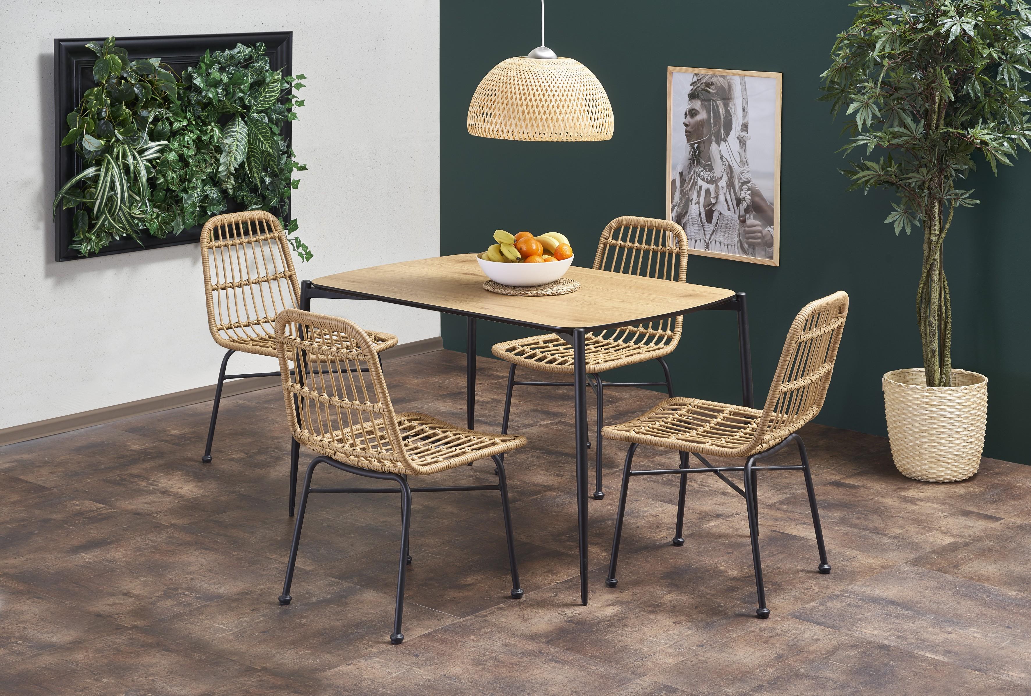 TORISTO stôl, doska - dub zlatý, nohy - čierna