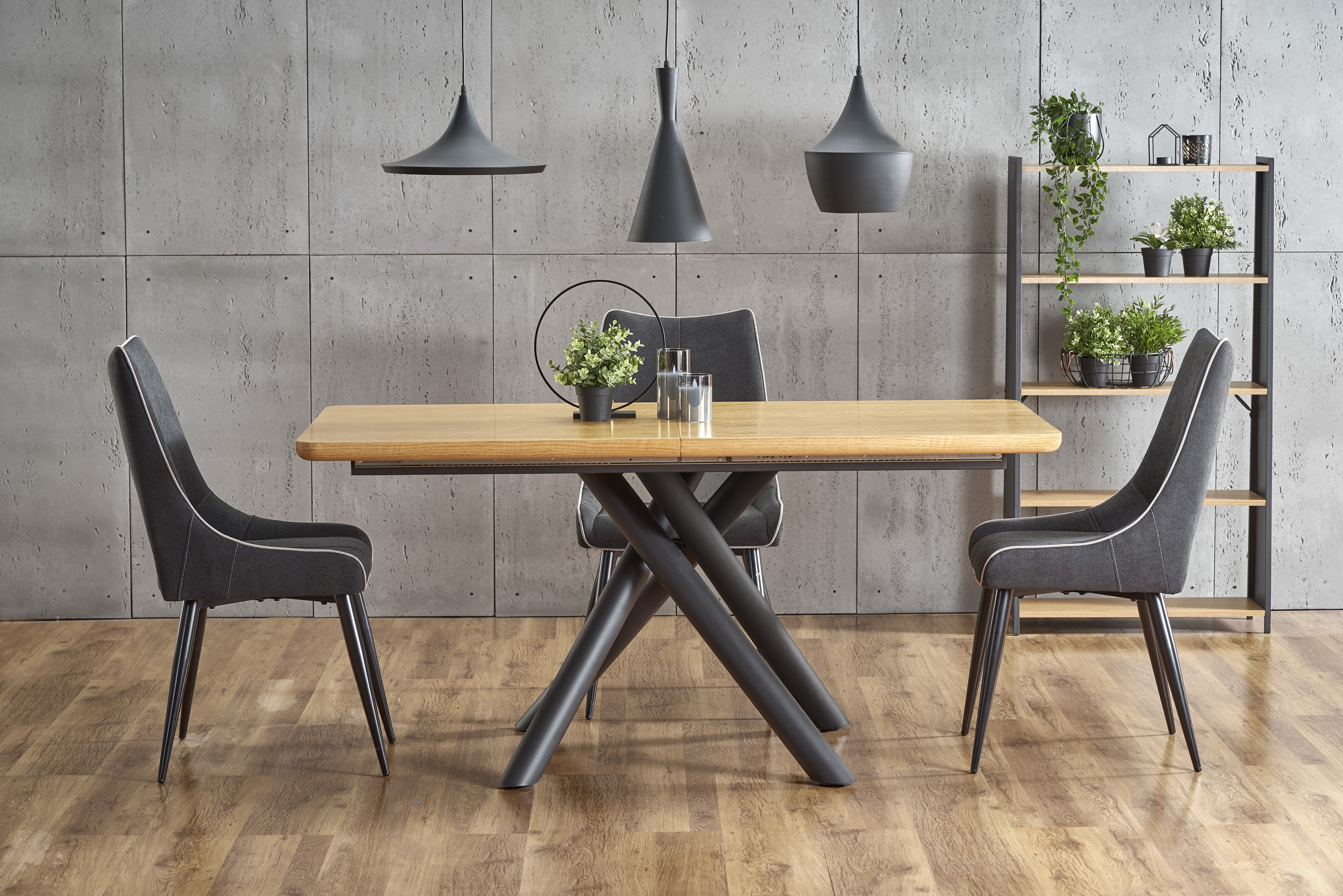 DERRICK rozkladací stôl dub prírodný / čierna