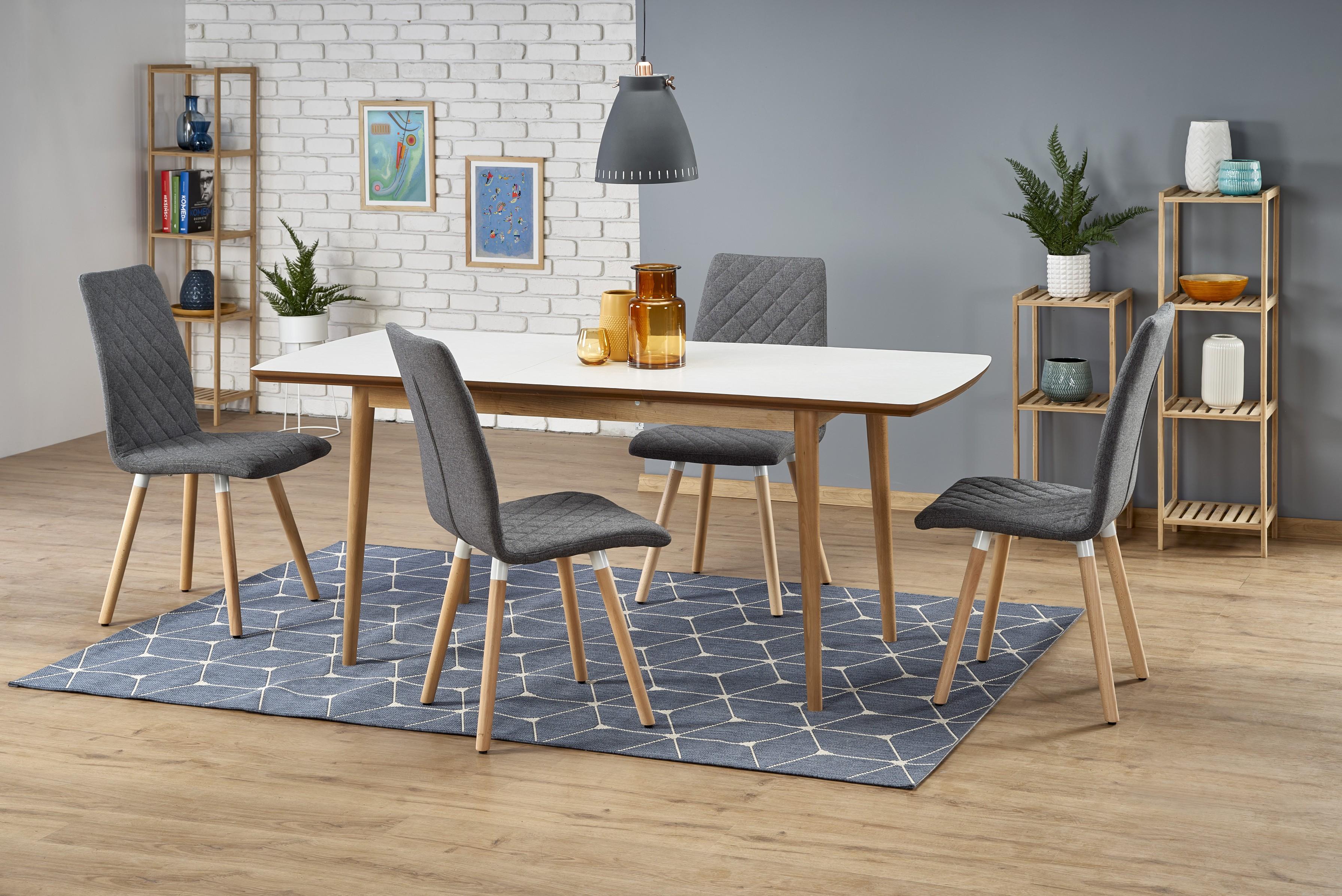 BRADLEY stôl farba doska - biela matná, nohy - dub lefkas (140-185x80x75 cm)