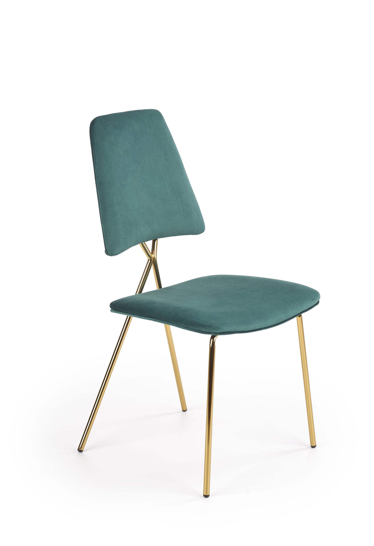 K411 stolička čalúnenie - tmavo zelená, nohy - zlatá