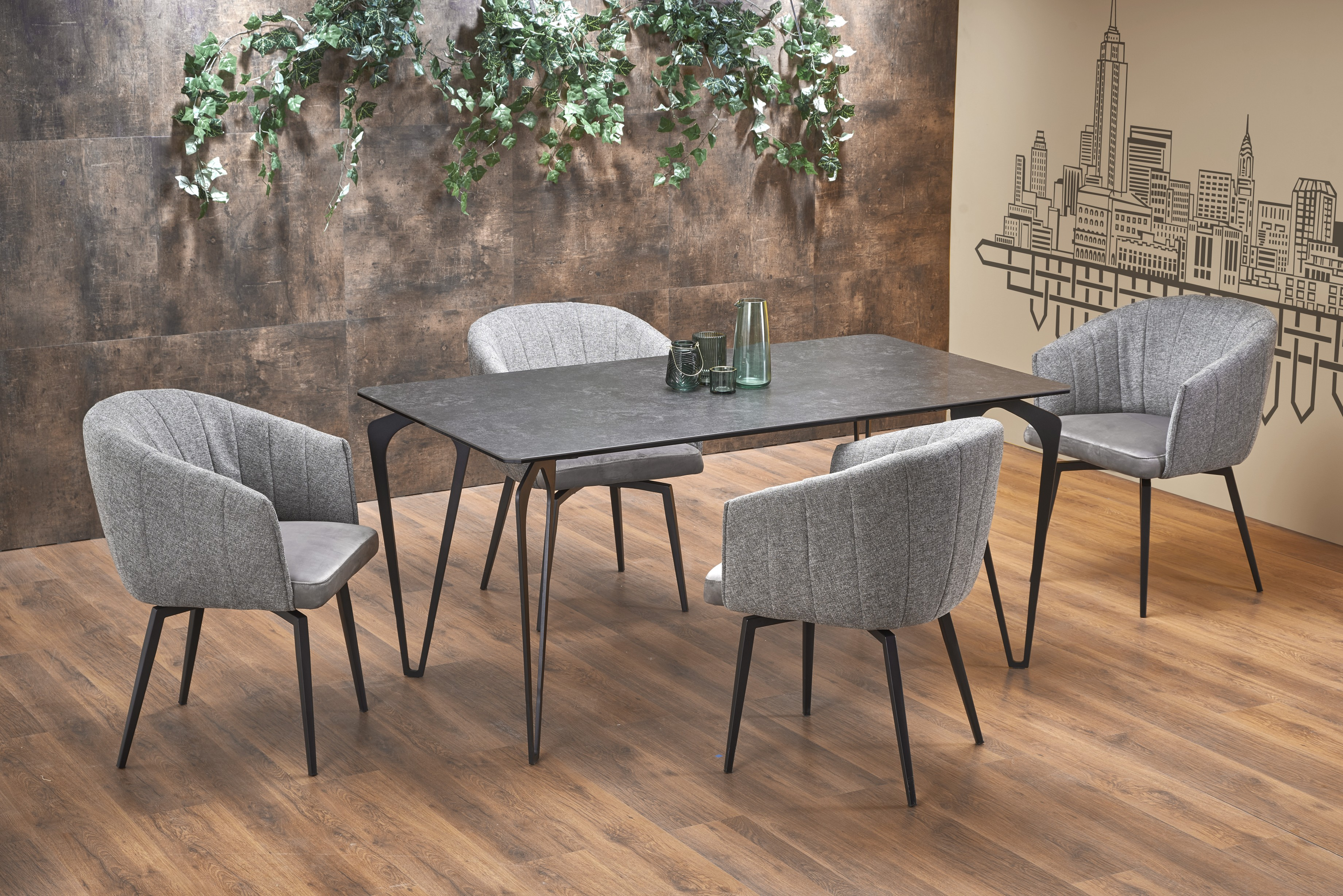GREYSON stôl sklo+ keramika tmavo šedá
