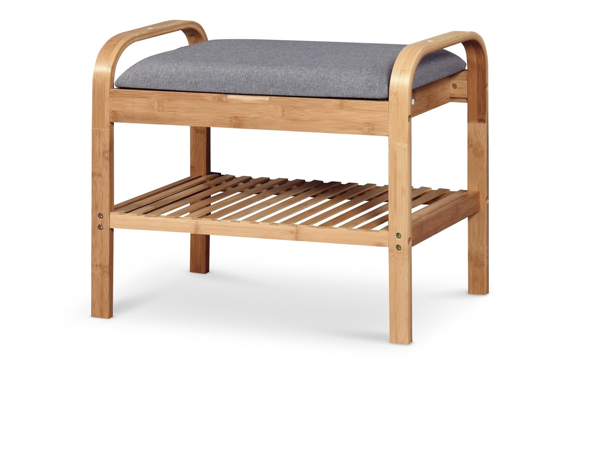 ST12 lavička / botník bambus - šedá