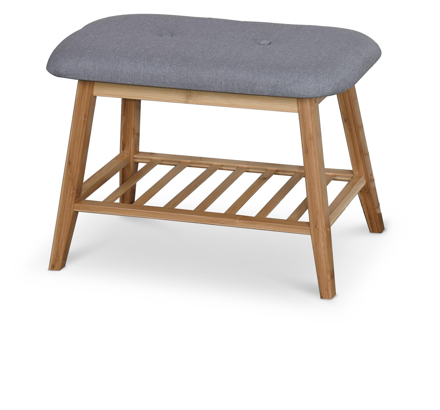 ST14 lavička / botník bambus - šedá