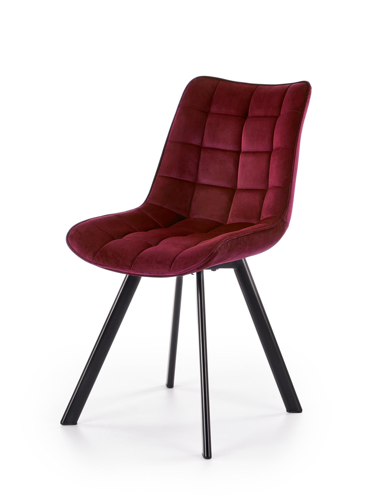 K332 stolička nohy - čierne, sedák - bordový