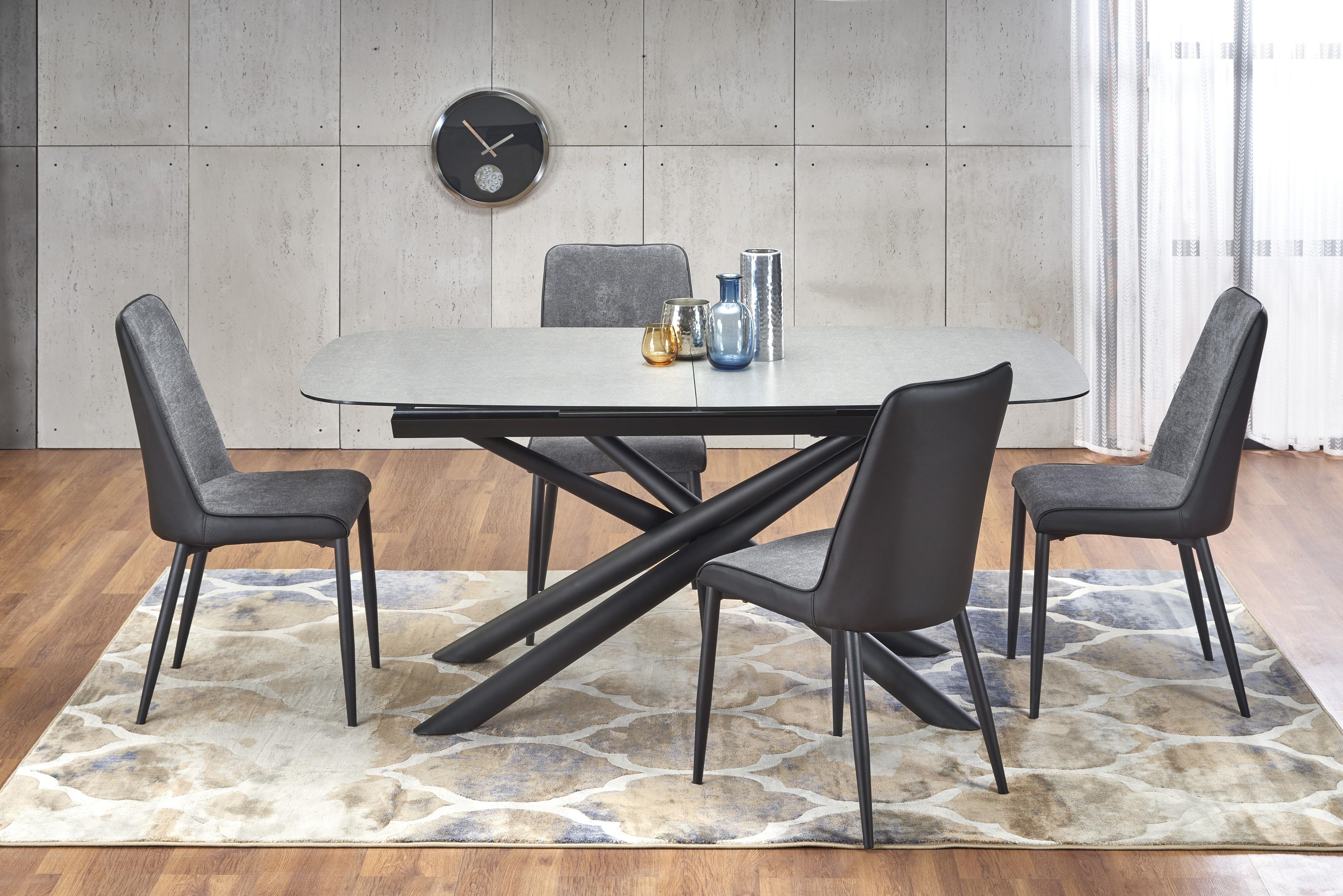 CAPELLO rozkladací stôl doska - tmavo šedá, nohy - čierna