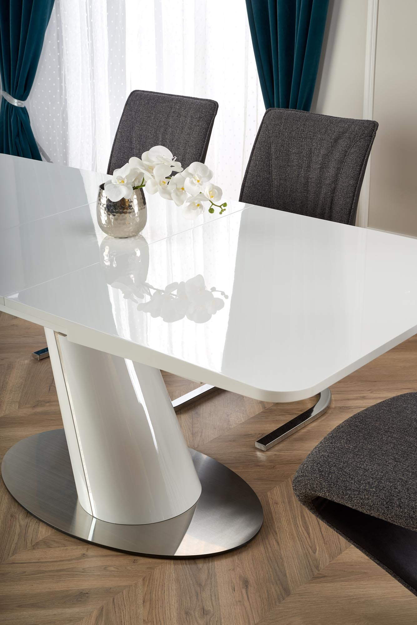 ODENSE rozkladací stôl doska - biela podstavec - biely
