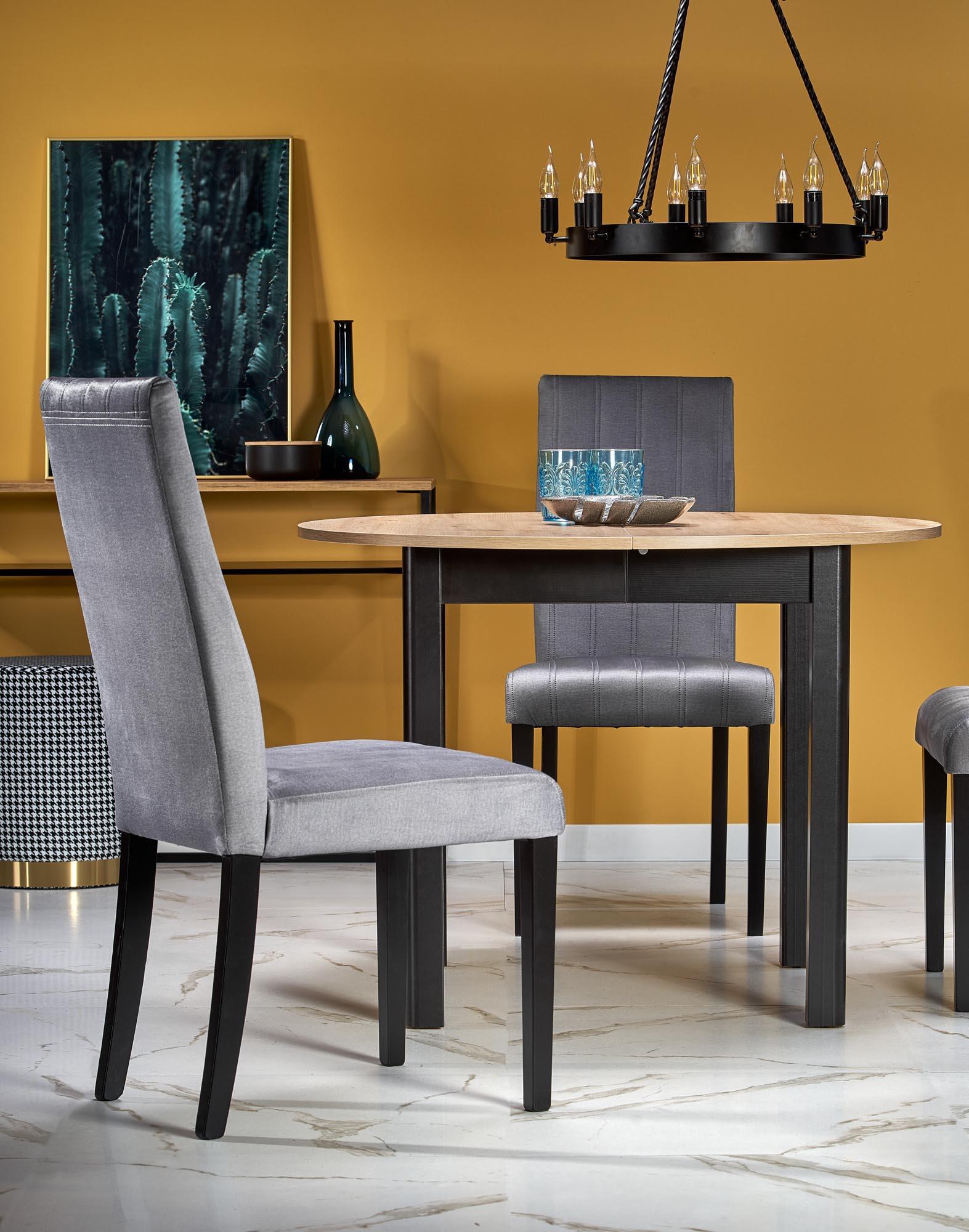 RINGO doska dub artisan, nohy - čierne (102-142x102x76 cm)