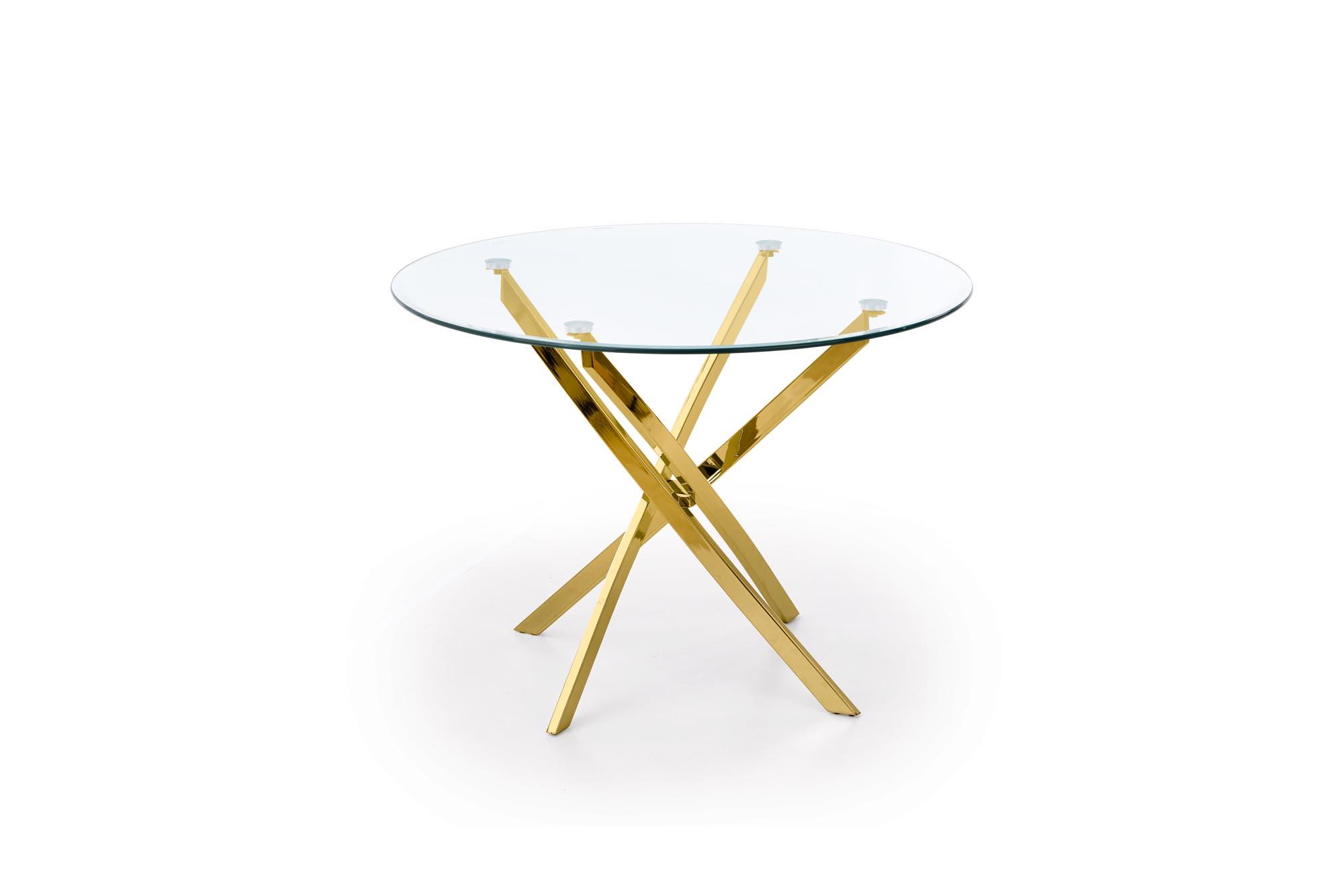 RAYMOND stôl, doska - transparent, nohy - zlaté