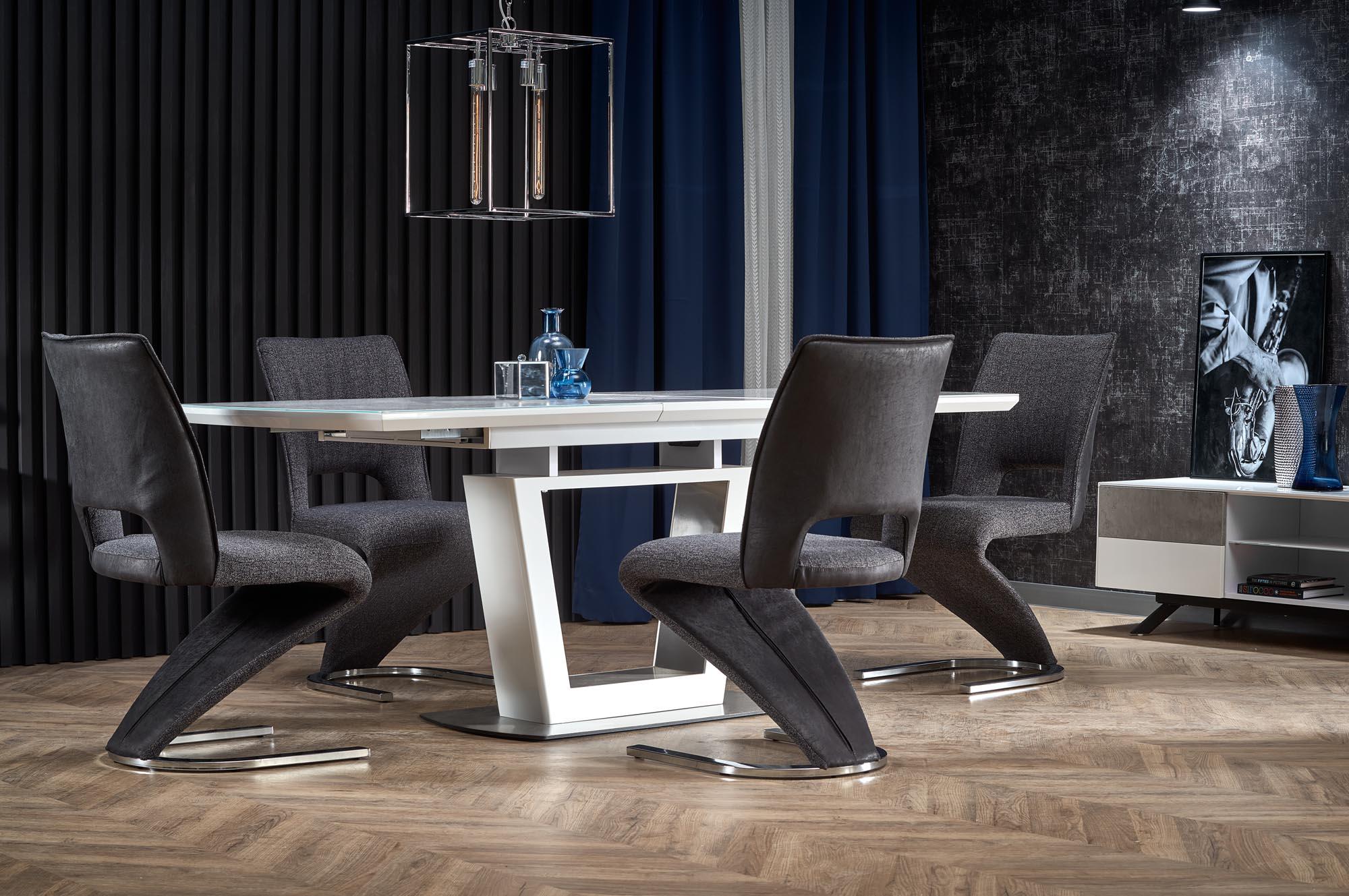 BLANCO rozkladací stôl doska - biely mramor / biela, nohy - biele