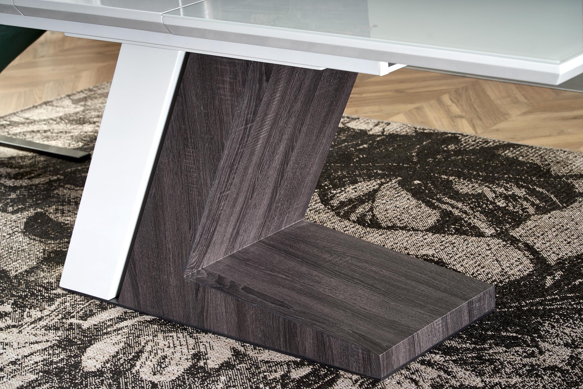 MORTIS rozkladací stôl doska -  biela, nohy - biele / tmavo šedé