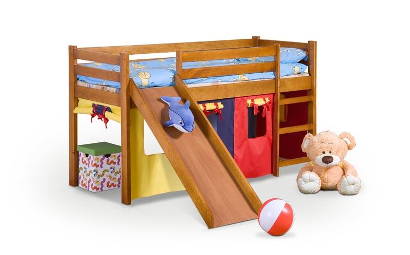 NEO PLUS - poschodová posteľ so šmýkačkou a matracom - borovica