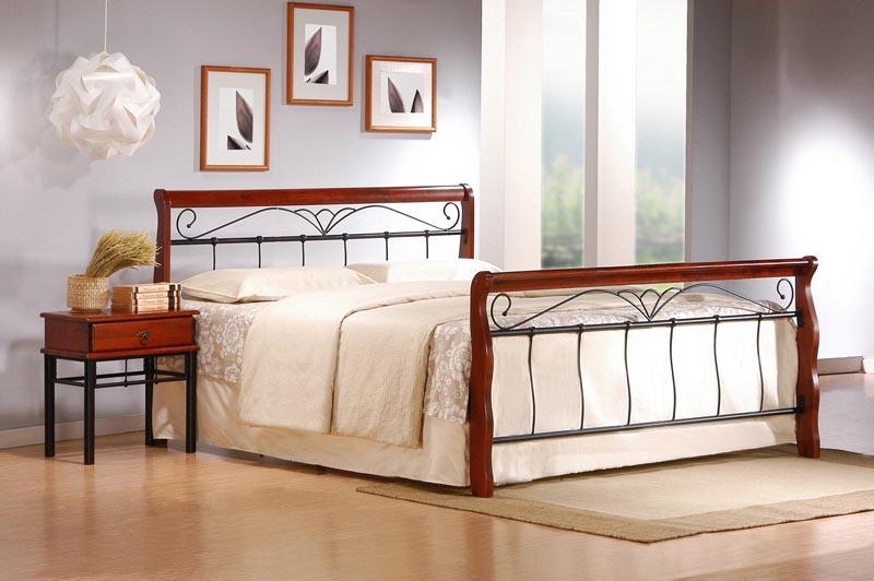VERONICA posteľ 180 cm čerešňa anticka/čierna