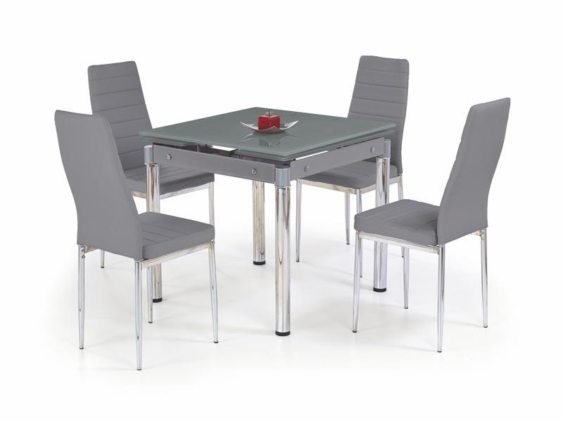 KENT stôl rozkladací šedý, pochrómovaná ocel