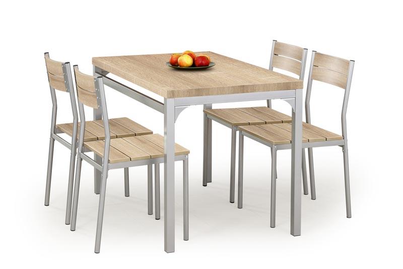 MALCOLM zostava stôl + 4 stoličky dub sonoma
