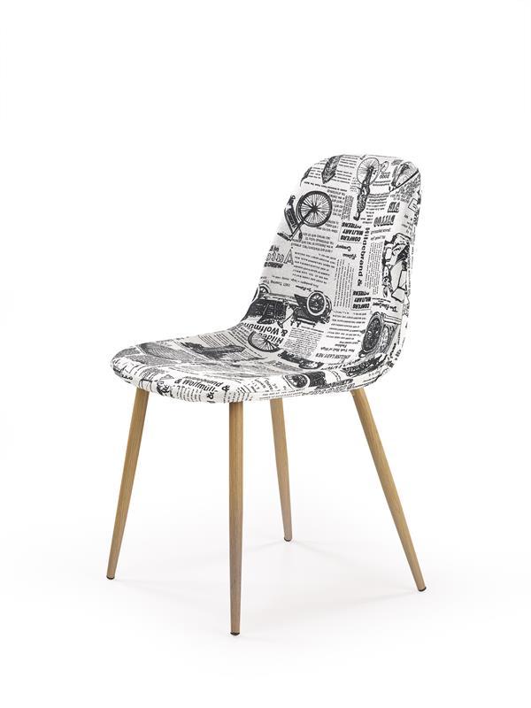 K220 stolička čalúnenie viacfarebné, nohy - dub medový