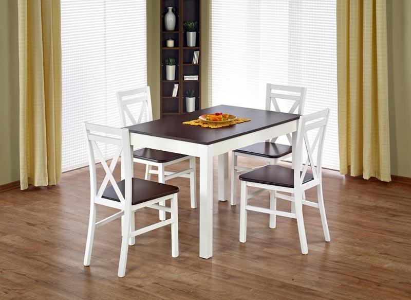 MAURYCY stôl tmavý orech / biela