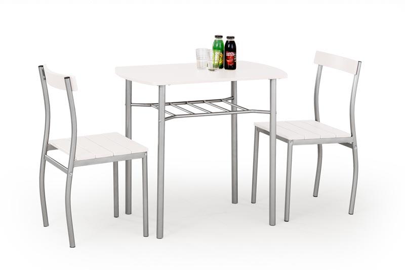 LANCE zostava: stôl + 2 stoličky biela