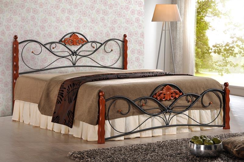VALENTINA postel 160 cm čerešňa ant./čierna