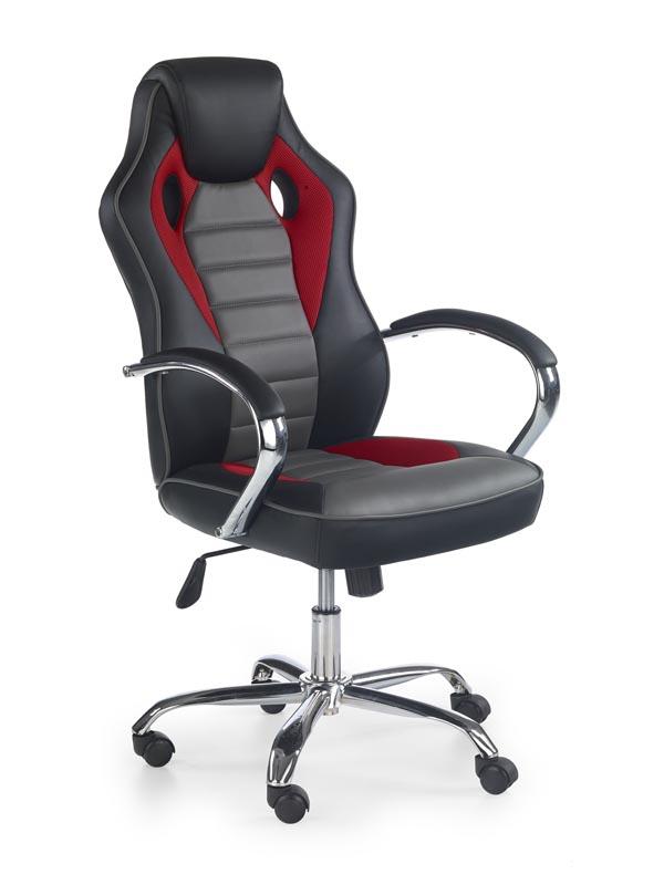 SCROLL kancelárska stolička, čierna / červená / šedá