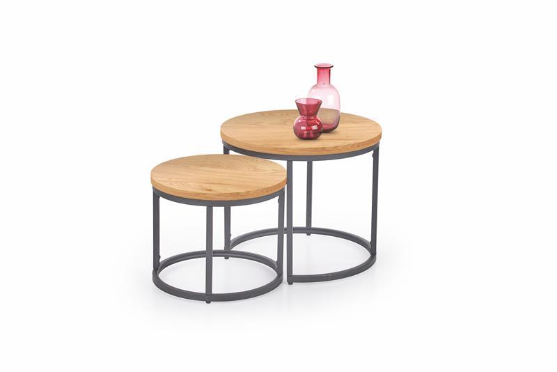 OREO set z dvoch konferenčných stolíkov - zlatý dub / čierna